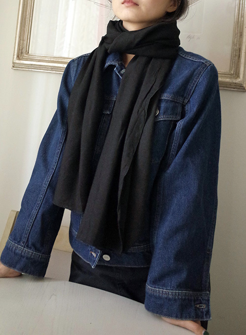 [50% OFF] LONG WIDE SCARF (BLACK)