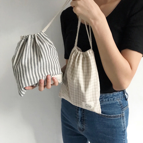 [10% OFF] NATURAL STRING POUCH (STRIPE/CHECK)